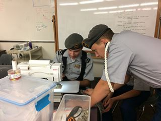 Cadets making bags